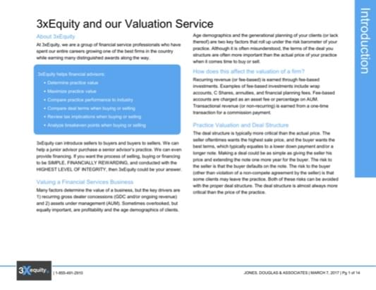 Xequity Financial Advisor Custom Valuation Report